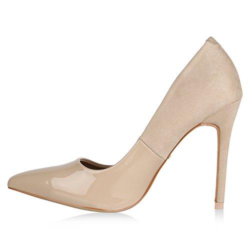 Stiefelparadies Damen Spitze Pumps Lack Stiletto High Heels Elegante Party Schuhe Flandell Creme
