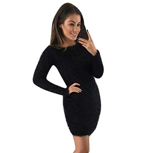 (Hunputa Women Winter Long Sleeve Solid Faux Rabbit Fur Warm Short Bodycon Dress Hairy Sweater Dress (Black, L))