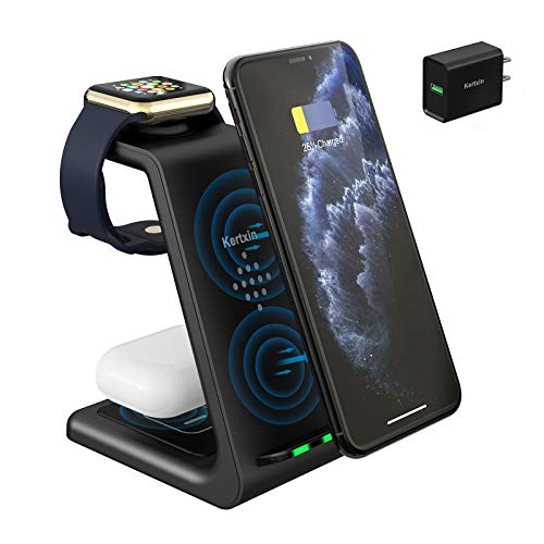Kertxin 3 in 1 Qi-Certified Wireless Charger,Wireless Charging Station Dock for Apple Watch,AirPods Pro,Wireless Charging Stand for iPhone 11 Pro Max/X/XS/XR/8/8+,Samsung Galaxy S20 S10 S9 S8 Note 10