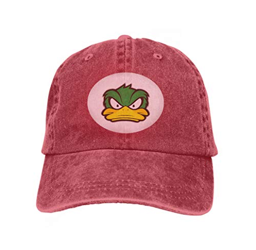 Trucker Hat Unisex Adult Baseball Mesh Cap Angry Duck Mascot Clipart Picture Cartoon Logo Character VAR red