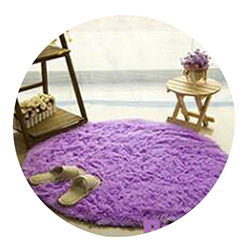 Lady Night Solid Color Round Carpet for Living Room Large Size Faux Fur Area Rugs Home Decoration,Voilet,Diameter 80Cm