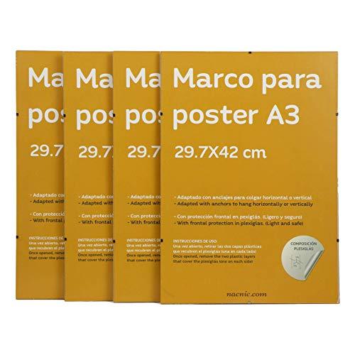 Set 4 marcos transparentes de clip Soportes transparentes para fotos, posters, diplomas, dibujos o laminas Tamano A3 (29 7x42 cm) Marcos clip transparentes con plexiglas y anclajes para colgar