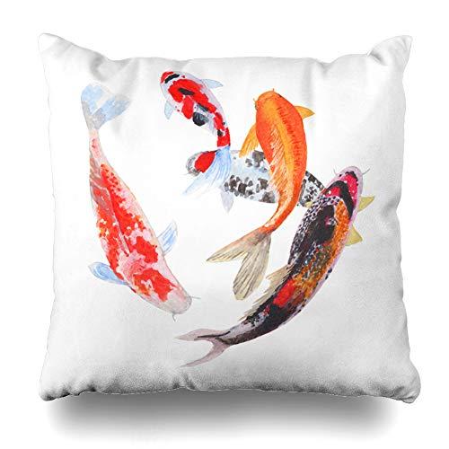 Ahawoso Throw Pillow Covers Red Asia Koi Crap Fish Watercolor Asian Painting Orange Carp Culture Design Home Decor Pillowcase Square Size 18