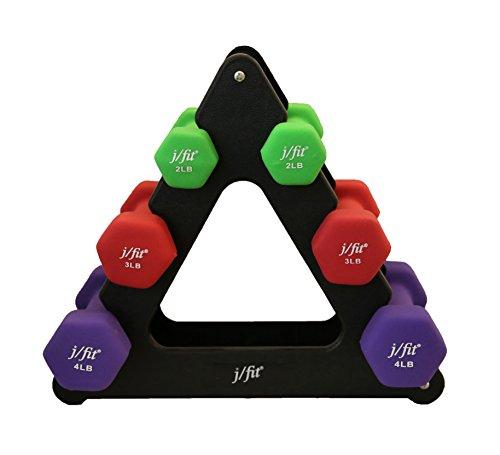 j/fit Dumbbells Set w/Durable Rack - 18-lb Set (Pairs of 4-lb, 3-lb and 2-lb Weights)