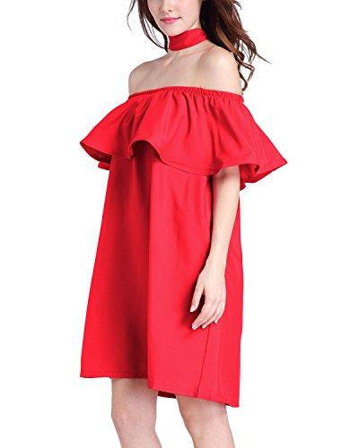 Minetom Mujeres Vestido Con Manga del Loto Cuello Ancho Playa Fiesta Mini Dress Fuera del Hombro Rojo