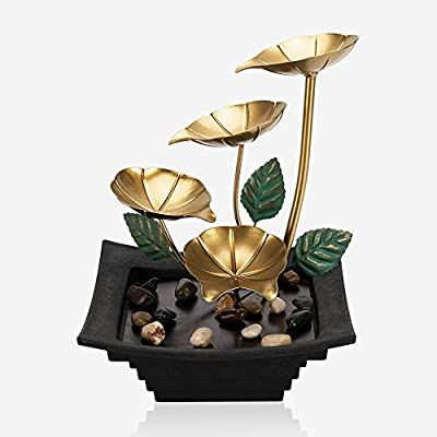 Ferrisland Indoor Water Lily Water Fountain Tabletop Fountain Water Over Metal Flowers and Leaves, Electric Pump, Soothing Indoor Waterfall for Home Décor