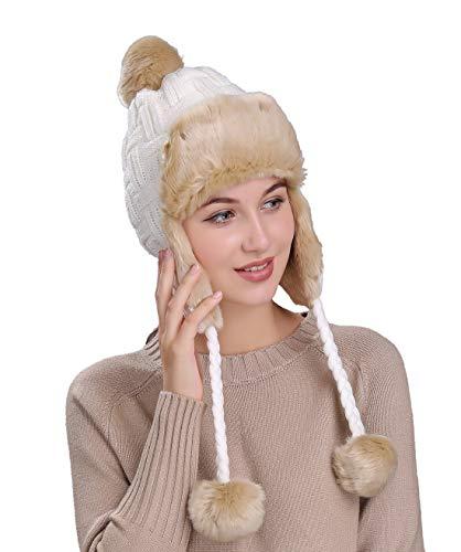 Home Prefer Womens Girls Earflap Hat Faux Fur Knit Hat Warm Snow Ski Trapper Hat (White (Cable))
