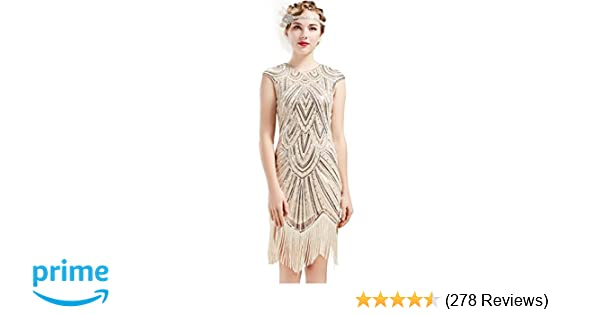00ab9803e7d BABEYOND Women s Flapper Dresses 1920s Beaded Fringed Great Gatsby Dress at  Amazon Women s Clothing store