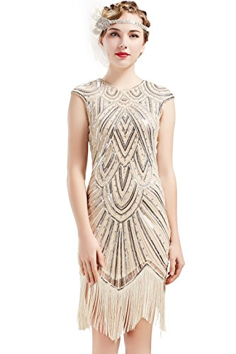 BABEYOND Women's Flapper Dresses 1920s Beaded Fringed Great Gatsby Dress (Beige + Crystal Decorations, XS) -