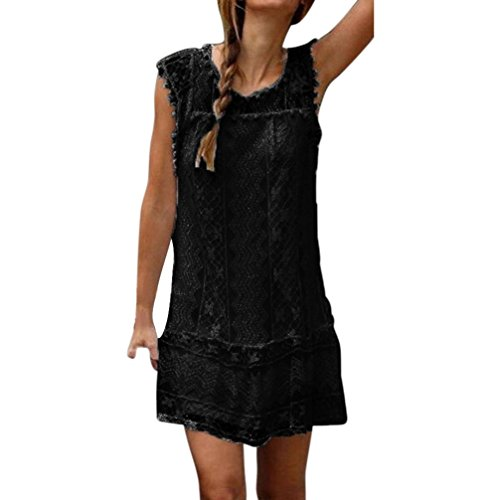 BSGSH Women's Casual Sleeveless Floral Lace Tassle Ball Trim Semi Sheer Summer Mini Dress (M, Black)