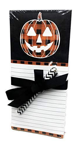 Halloween Plaid Jack-o-Lantern Pumpkin Notepad with Pen & Magnetic Back Novelty Holiday Gift Set