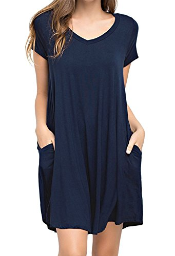 Womens Loose T-Shirt Dress with Pocket Short Sleeve Swing Tunic Long Top Navy