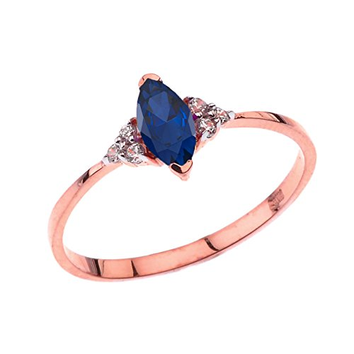 Dazzling 10k Rose Gold Genuine Marquise Sapphire with White Topaz Proposal/Promise Ring (Size 5)