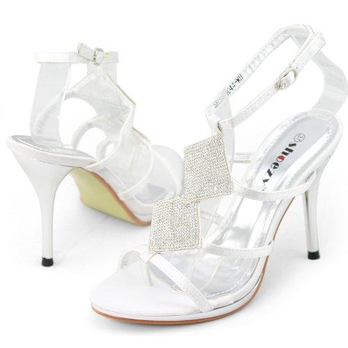 SHOEZY Women's Satin Stiletto Heels Sandals Strappy Gladiator Prom Dress White US 9