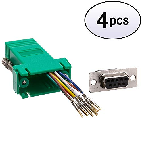 GOWOS (4 Pack) Modular Adapter, Green, DB9 Female to RJ45 Jack