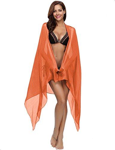 Stola Sciarpa Scialle Bikini Matrimonio Vestito Lucido Coprire da Pashmina Spiaggia Arancione Tute Coprire Vestito bagno Chiffon Elegante Ampia Gonna Costume Sciarpa wrqEBw5a