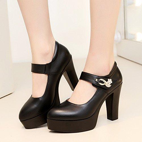 34 de 旗 hauts talons 走 seule femelle cuir élégant 10 épaisse femelle nbsp;cm Chaussures chiffres avec 40–43 Noir Noir Chaussures en Taiwan avec grands Yalanshop haute imperméable Chaussures nx1vCa5