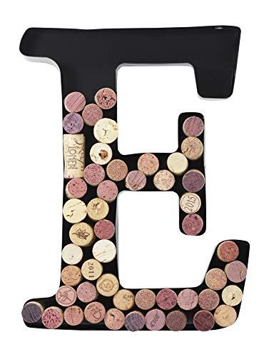 (Metal Letter Wine Cork Holder Monogram w/Free Wall Mount Kit A-Z, (E))