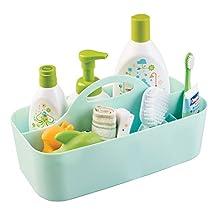 mDesign Baby Nursery Tote Caddy, for Wipes, Binkies, Medicine, Lotion - Medium, Mint