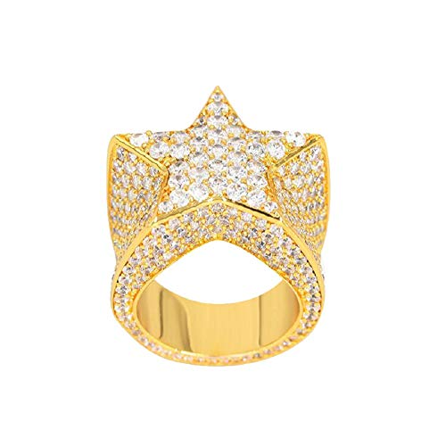 Iced Out Star - TRIPOD JEWELRY Mens Hip Hop 18K Gold Plated Iced Out Cluster Simulated Diamond AAA CZ Bling Star Punky Ring SZ 7-12 Band (Gold, 7)