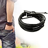 Casual Mens Surfer Tribal Wrap Multilayer Genuine Leather Cuff Bracelet Black