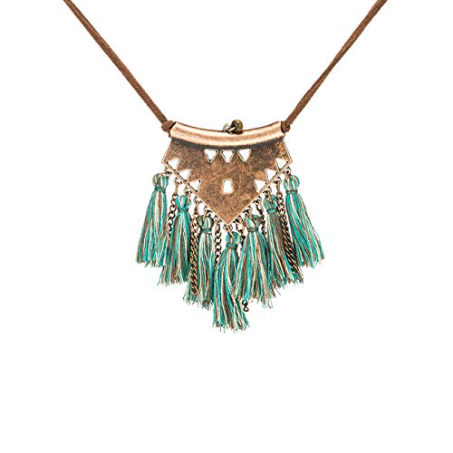BRBAM Refined Bohemian Style Tassel Necklace Tassel Pendant Leather Chain Sweater Necklace for Women (Green Mixed)