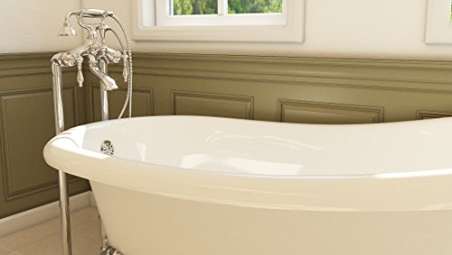 Luxury 67 inch Clawfoot Tub with Vintage Slipper Tub Design in White, includes Polished Chrome Ball and Claw Feet and Drain, from The Glendale Collection by Pelham & White (Image #2)