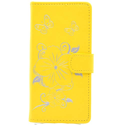 Leya Smartphone Leather Case for Huawei P9 Lite Bronzing Butterfly Pattern Horizontal Flip PU Leather Case with Holder & Card Slots & Wallet(Black) (Color : Yellow)