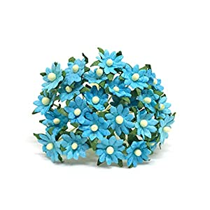 1cm Turquoise Paper Daisies, Mulberry Paper Flowers, Miniature Flowers For Crafts, Mulberry Paper Daisy, Paper Flower, Artificial Flowers, 50 Pieces 51