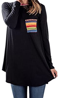 For G and PL Women's Casual Patchwork Long Sleeve T Shirt Tunic Top