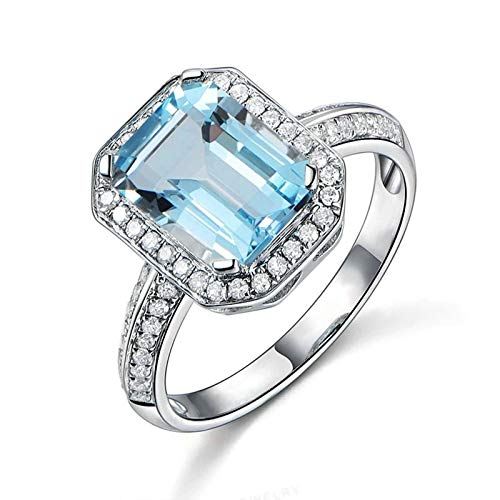 (Adisaer Ladies Engagement Ring 925 Sterling Silver Plated Solitaire WH 8X10Mm Square Blue Topaz Ring Size 5.5)