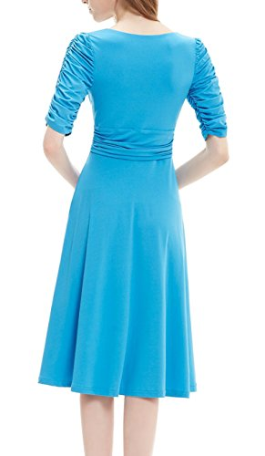 Dress Blue Manga DELEY Cuello Casual Fiesta Cóctel Sky 3 4 Vestido Mujer Retro V Elegante wqnxAZ7w6