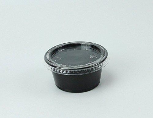 Disposable 2oz Black Plastic Condiment Cups with Lids 100...