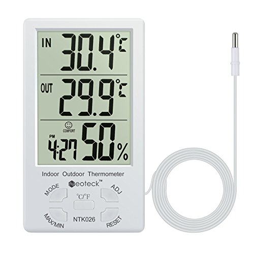Neoteck Thermometer Hygrometer LCD Digital Indoor Outdoor Hygrometer Humidity Thermometer Temperature Meter Min/Max Value 1.5m Sensor Wire for the Management of Air Conditioning Office Hotel Room