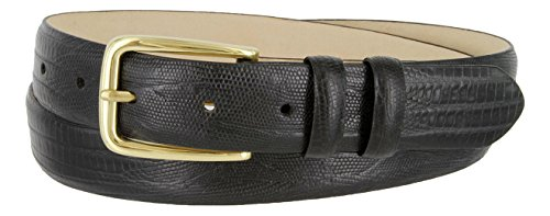 Andrew Genuine Italian Calfskin Leather Dress Belt for Men(Lizard Black, 44) - Lizard Dress Belt