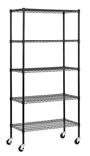 "Muscle Rack MWS361872-BLK 5 Shelf Black Wire Mobile Shelving Unit, 72"" Height, 36"" Width, 18"" Length"