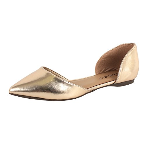 Breckelles - Womens Faux Leather D'Orsay Pointed Toe Flats, Champagne 38034-6B(M)US
