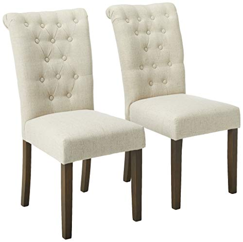 Merax Luxurious Tufted Fabric Upholstered Dining Chairs with Solid Wood Legs Dinning Room Chair Set of 2 (Beige) (Dining Upholstered Chairs Tufted)