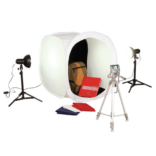 1050 Square Perfect SP500 Platinum Photo Studio In A Box with 2 Light Tents & 8 Backgrounds For Product Photography