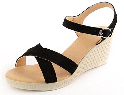 Ouvert Blanc Sandales Avec Femme Compensé Boucle Bout Mode Aisun 8SfTngqI8