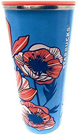 NEW STARBUCKS COLD CUP STAINLESS STEEL DESSERT FLORAL CACTUS BLUE TUMBLER 16 fl