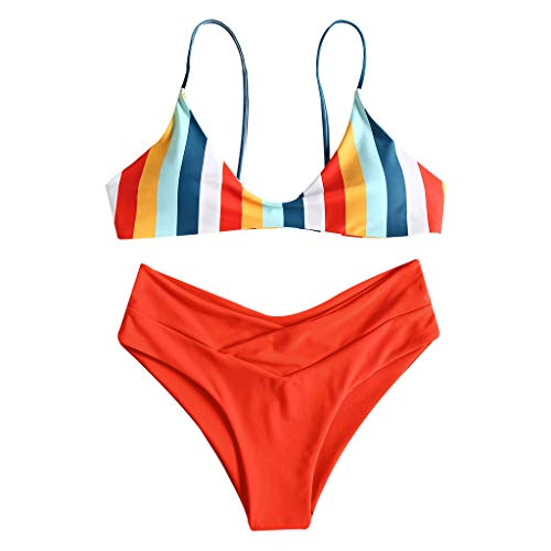 Kimnny Biquini Beachwear Set, Womens Summer Two Piece Bikini Set Contrast Colored Rainbow Vertical Stripes Triangle Bra Mid Waist Solid Color High Cut Pleated Thong Swimsuit Red XL
