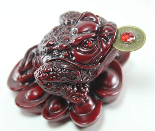 Statue Feng Shui Fortune Lucky Coin Frog Money Toad Figurine Red #2