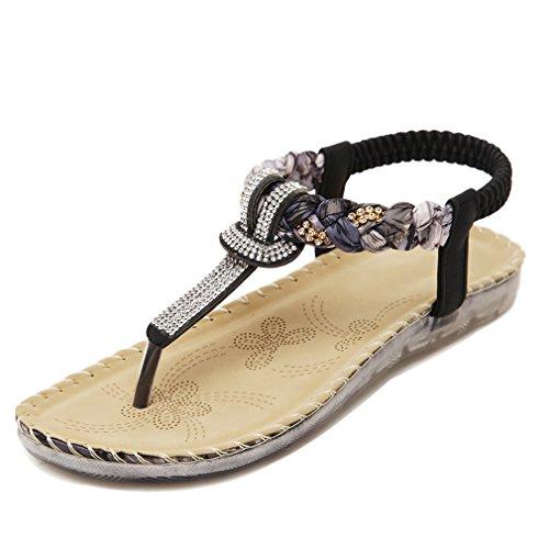 YoungSoul Sandalias planas con adornos del rhinestone - Chanclas de verano con tira para el dedo - Sandalias de vestir con tira trasera para mujer Negro