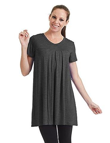 CTC WT1057 Womens V Neck Short Sleeve Pleats Tunic Top XXXL HEATHER_CHARCOAL - Together Short Sleeve Dress