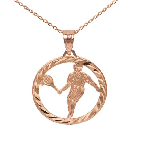 Player Charm 14kt Gold Jewelry (14k Rose Gold Round Tennis Pendant (20