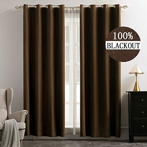 (MIULEE Linen Texture Curtains for Bedroom Soild 100% Blackout Thermal Insulated Cocoa Brown Curtains Grommet Room Darkening Curtains/Draperies for Living Room Nursery 52x96 Inch (2 Panels) )