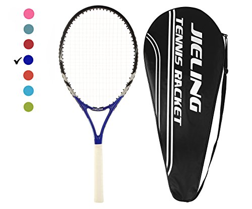 Jieling Blue Strung 27in Tennis Racquet for Men with Black Cover,4 1/8in Grip(Classic Blue)