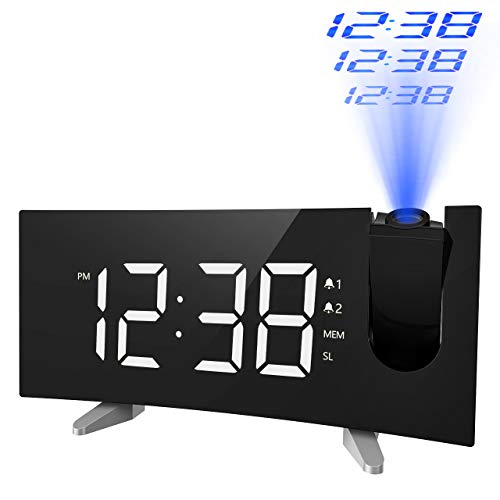PICTEK Projection Alarm Clock, 5'' LED Curved Screen Digital Projection Clock with Dimmer, FM Radio Alarm Clock, Dual Alarms for Kids Bedrooms, 12/24 Hour, Snooze Function, Sleep Timer, USB Charging ()