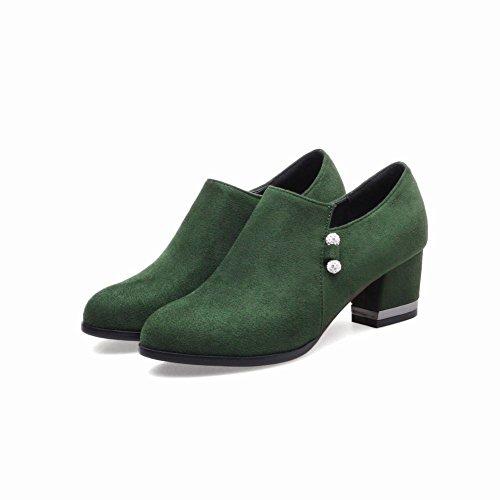Carolbar Femmes Zip Strass Rétro Bureau Dame Mi-talon Mocassins Chaussures Vert Foncé